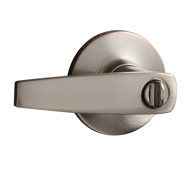 Cerradura de palanca modelo Cannes de acabado níquel satinado para uso en baño y