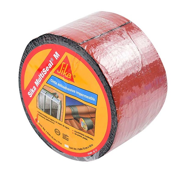 Cinta autoadhesiva impermeable M de 10cm x 3mt multiseal de color rojo SIKA