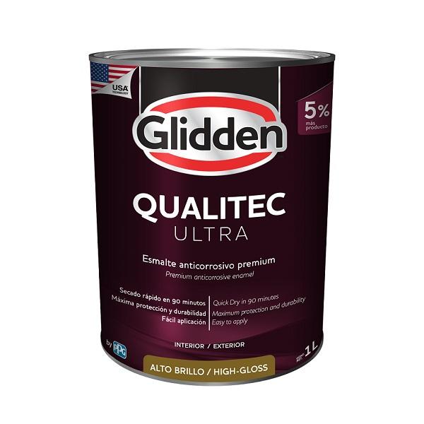 Esmalte anticorrosivo Qualitec Ultra acabado brillante color blanco de 1L GLIDDE