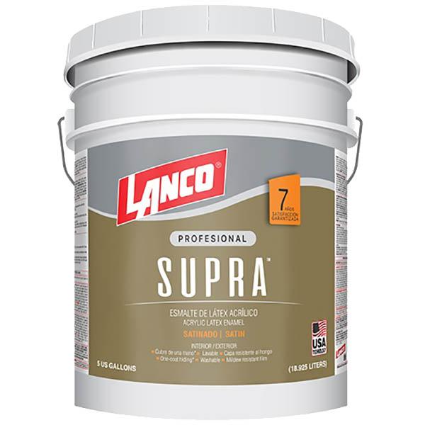 Pintura de látex acrílica Supra acabado satinado base pastel 5gl LANCO