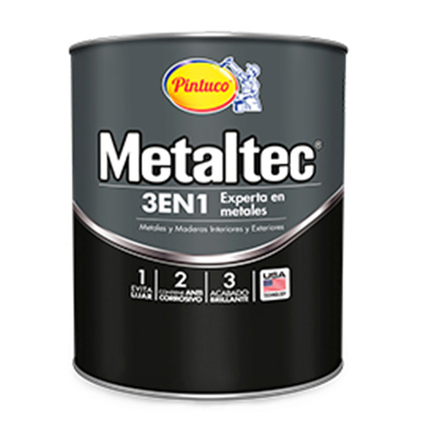 Pintura de esmalte metaltec 3 en 1 de color negro de 1gl PINTUCO