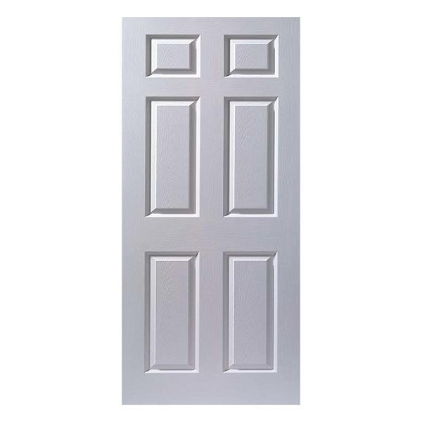 Puerta entamborada de 3' x 7' de madera de 6 paneles para interior de color blan