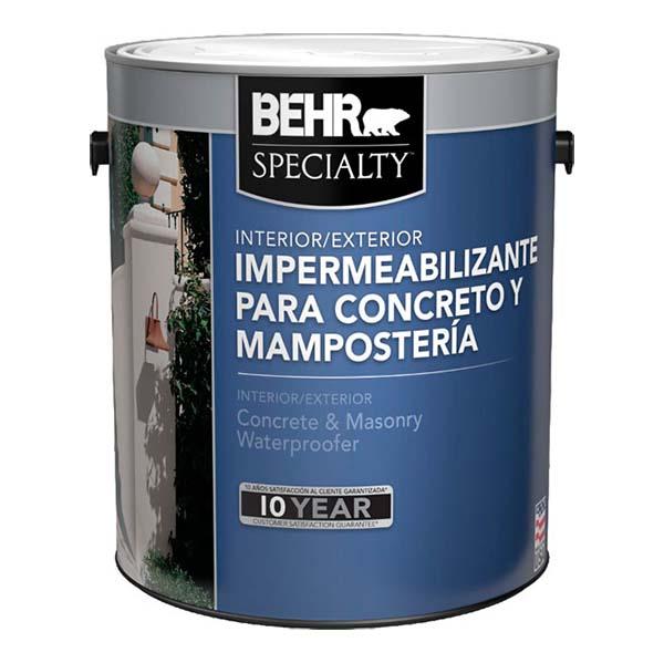 Pintura impermeabilizante de uso interior/exterior para concreto y mampostería c