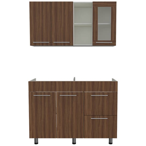 Muebles para cocina superior e inferior 120 thyra de color chocolate y blanco MU