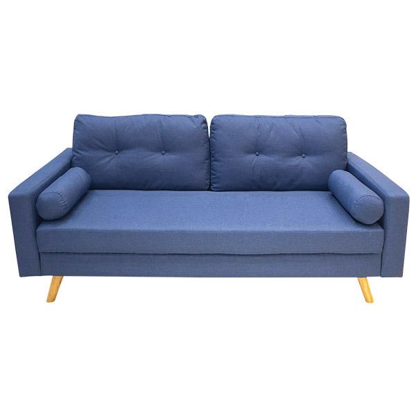 Sofá de 1.81m color azul de microfibra con marco y patas de madera