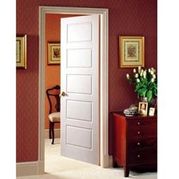 Puerta entamborada de 3´ x 7´ de madera modelo Borderio de 5 paneles para interi
