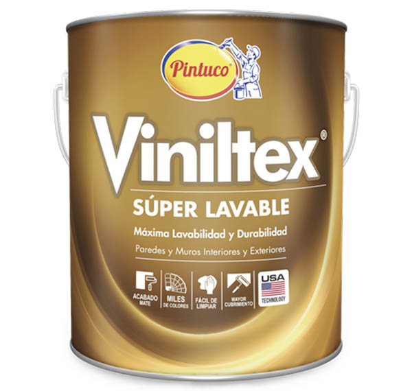Pintura acrílica Viniltex Super Lavable mate base blanca galón (3.785 litros) PI