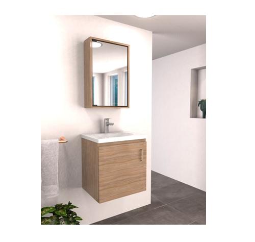 Mueble de baño basico y lavamano eco de 48cm x 38cm color soder y blanco FIRPLAK