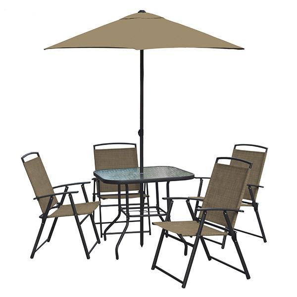Juego de terraza de 1 mesa + 4 sillas y 1 sombrilla de color mocca de 6 piezas