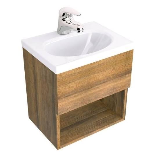 Mueble suspendido modelo Rayo color chocolate con lavamanos modelo Eco color bla
