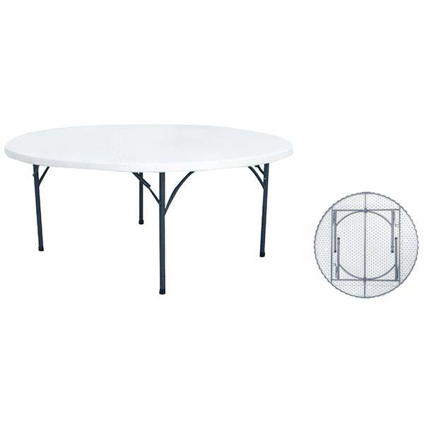 "Mesa plástica plegable de 72"" redonda multiuso de color blanco"