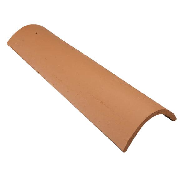 Teja cumbrera de arcilla de 50cm x 21cm de color rojo VEREA