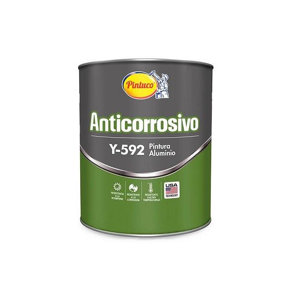 Pintura anticorrosiva de aluminio Y-592 de 1/4gl PINTUCO