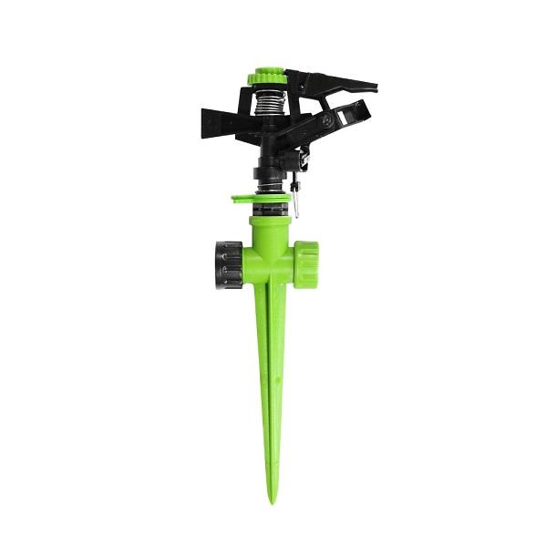 Aspersor rotativo de plástico con estaca para jardín color verde YARDSMITH