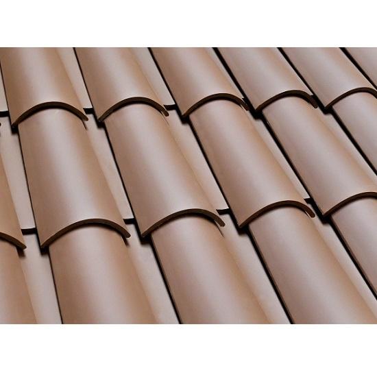 Teja curva de arcilla de 50cm x 27.8cm de color marrón VEREA