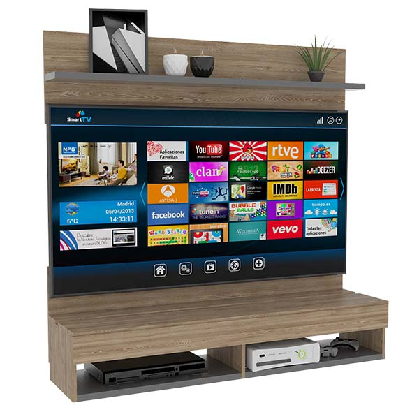 Mueble panel de TV de 134.6cm x 137.6cm x 35.2cm modelo Ravena de color miel/plo