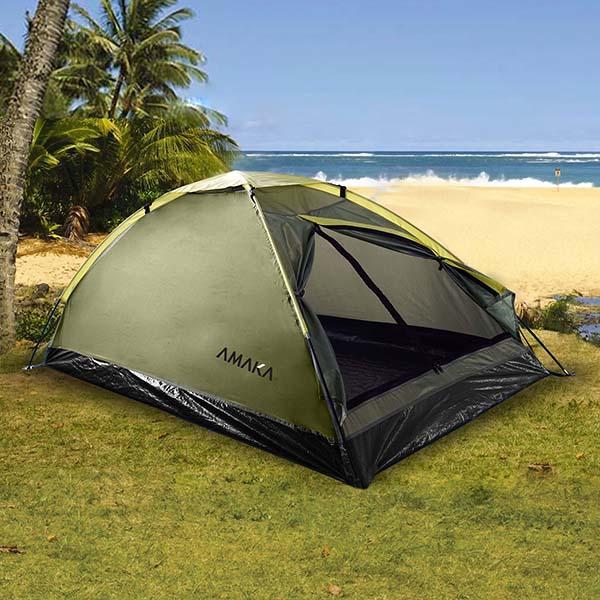 Tienda de acampar de 200cm x 100cm x 90cm para 2 personas de color verde AMAKA