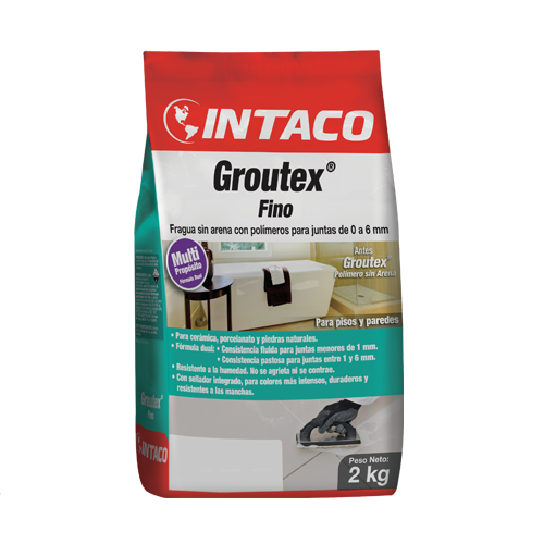 Mortero Groutex Fino de 2kg para junta sin arena color gris INTACO
