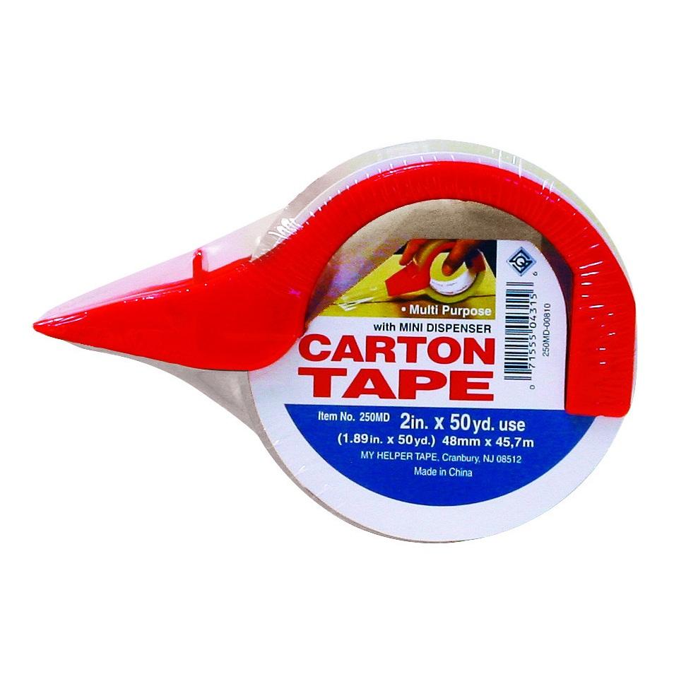 """Cinta adhesiva de 2"""" con dispensador plástico para sellado de cartón de color tr"""