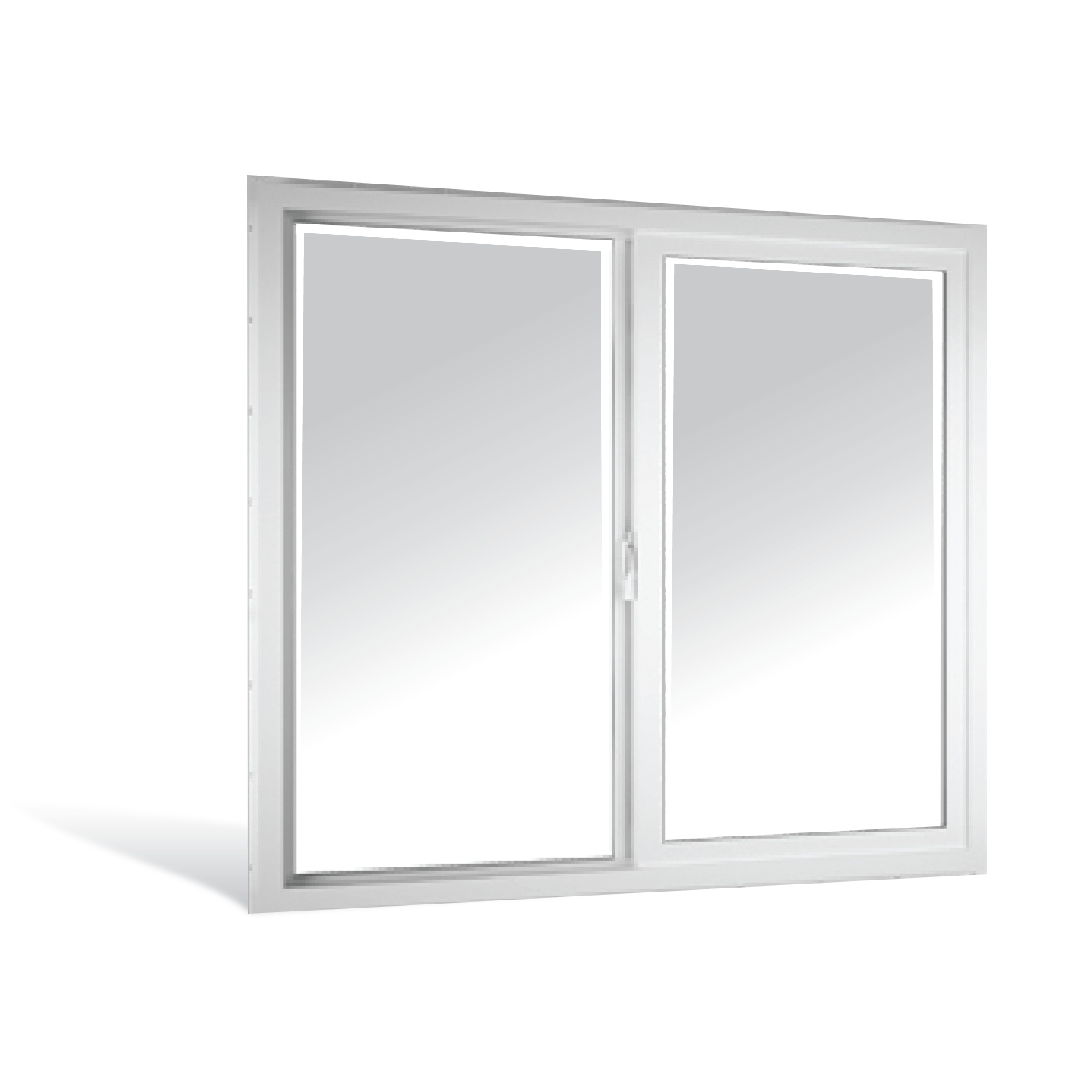 Ventana corrediza de 1m x 1m de PVC color blanco
