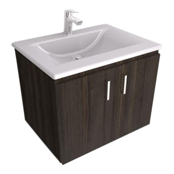 Mueble suspendido color chocolate con lavamanos modelo Trentino color blanco FIR