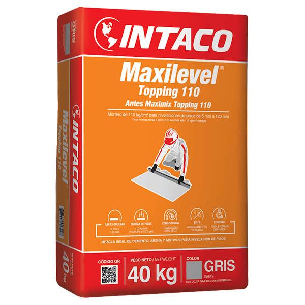 Mortero Maximix Topping 110 de 40kg para nivelación de pisos color gris INTACO