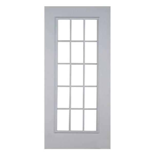 Puerta de metal de 3' x 7' de acero modelo Francesa de 15 luces para interior y