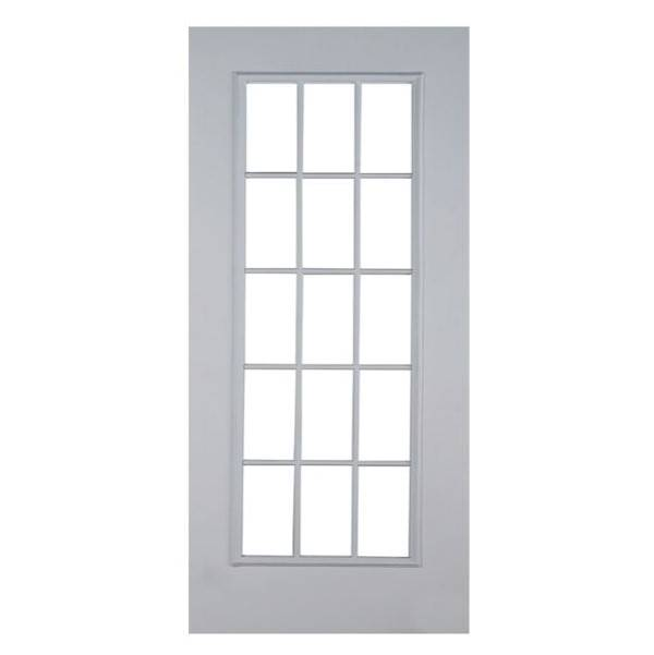 Puerta de metal de 3' x 7' modelo Francesa de 15 luces para interior y exterior