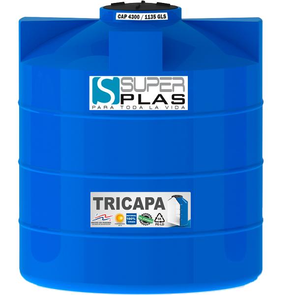 Tanque de reserva de agua de tricapa color azul 4200 litros