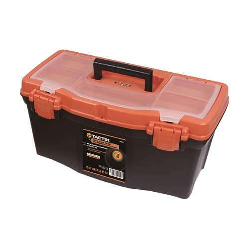 Caja de herramientas de 40cm plástica con tapa organizadora de color negro/naran