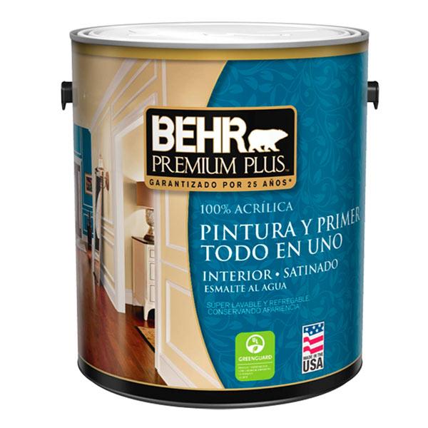 Pintura acrílica Premium Plus para interior acabado satinado color blanco de 1/4