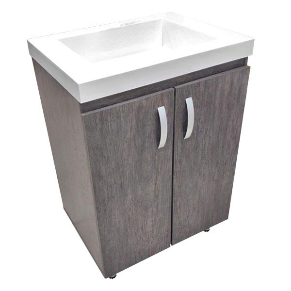 Lavamanos blanco con mueble de 63cm x 48cm modelo Oslo color baudó y cierre lent