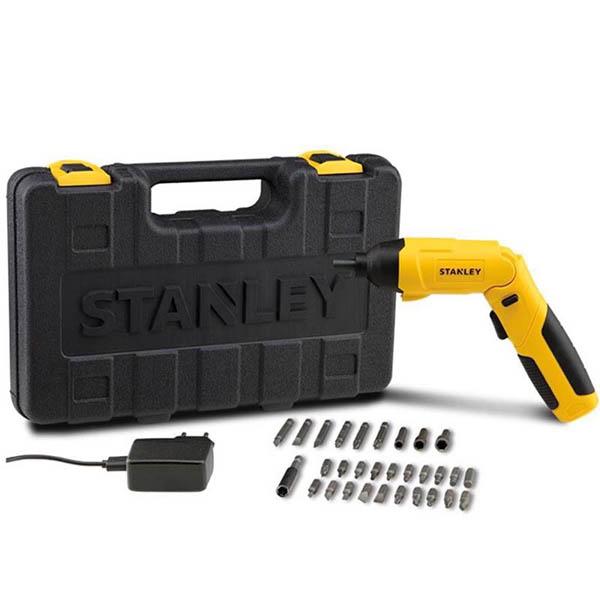 Atornillador inalámbrico de 4V con 30 puntas y estuche de plástico STANLEY