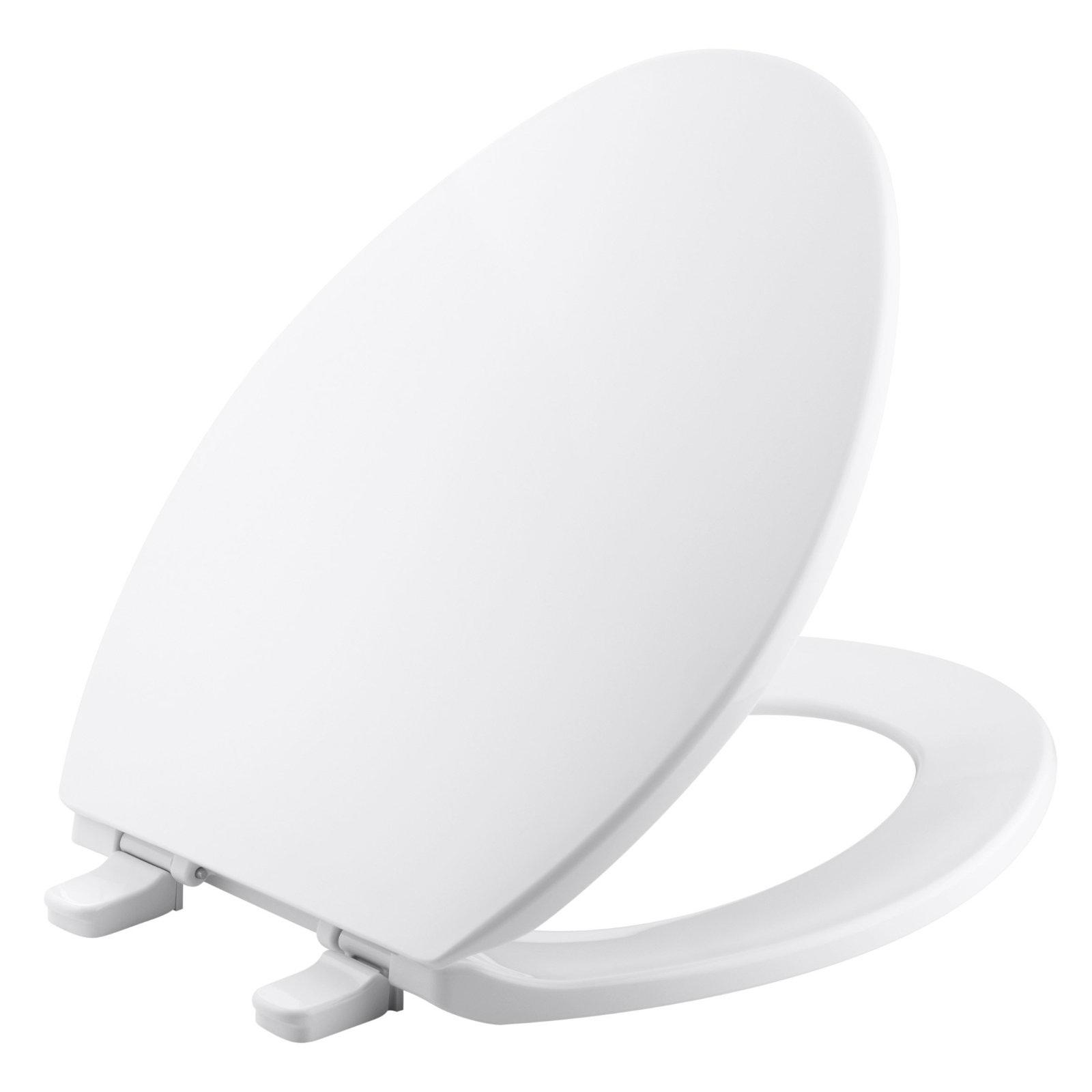 Asiento para inodoro elongado modelo Brevia de plástico blanco KOHLER