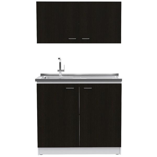 Muebles para cocina superior e inferior napoles de color wengue y blanco MUEBLES