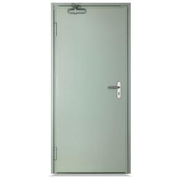 Puerta cortafuego de 3' x 7' de acero de 90 minutos reversible color gris