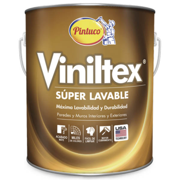 Pintura acrílica Viniltex Super Lavable mate color blanco 1 GL (3.785 litros)