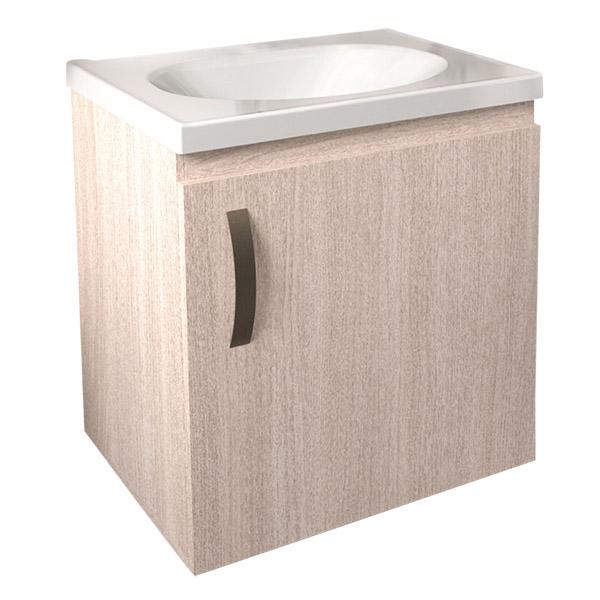 Lavamanos blanco con mueble de 48cm x 38cm modelo Eco de color mali Firplak