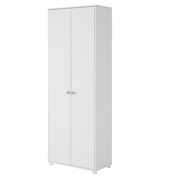 Armario de melamina rectangular de 2 puertas multiuso de color blanco