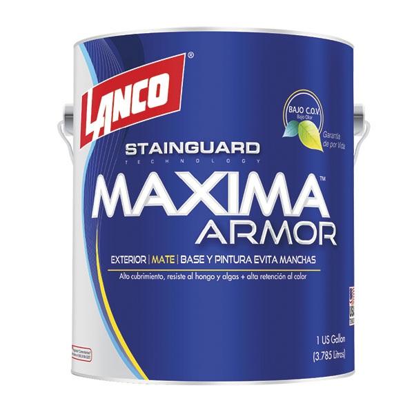 Pintura acrílica Máxima Armor para exterior acabado mate color blanco de 1gl LAN