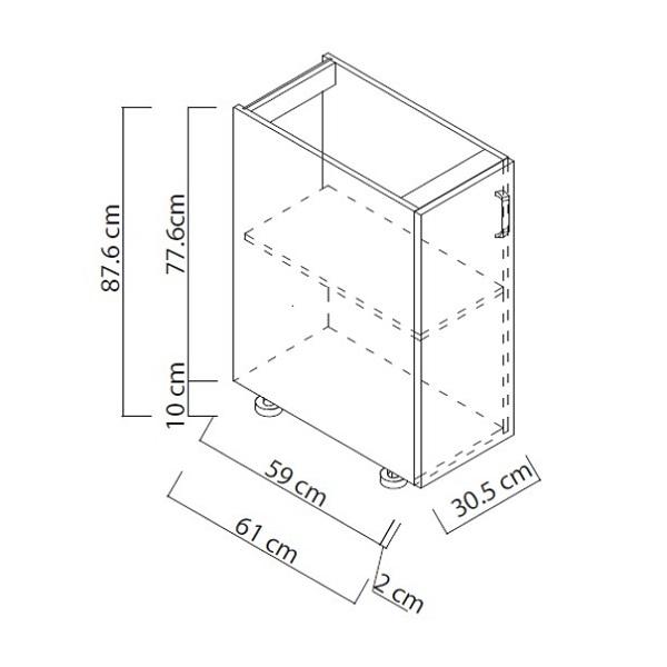 """Módulo base de 12"""" de 1 puerta para cocina color blanco NOVASTONE"""