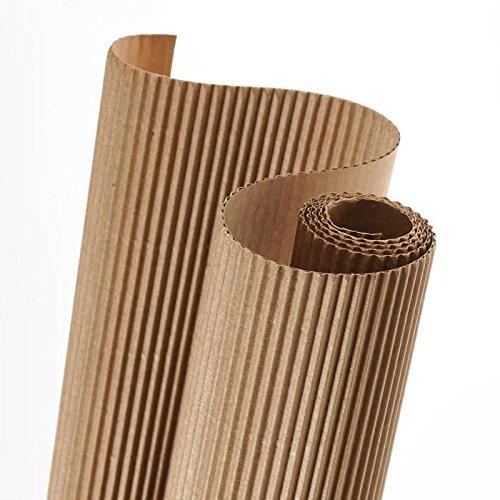 Rollo de papel ondulado de 25M ideal para embalar y otros usos de color beige QS