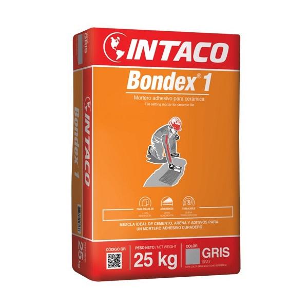 Pegamento Bondex 1 de 25kg mezcla adhesiva para cerámica de color gris INTACO