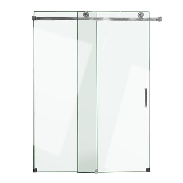 Puerta de vidrio templado de 1.50m x 1.90m para baño con acabado brillante AKUA