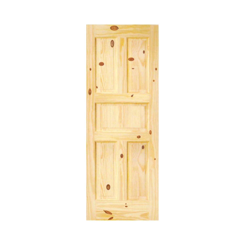 Puerta sólida de 3' x 7' de madera de pino modelo Colonial de 5 paneles para int