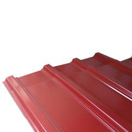 """Lámina de zinc color rojo de canal ancho de 42"""" x 18' calibre 26"""