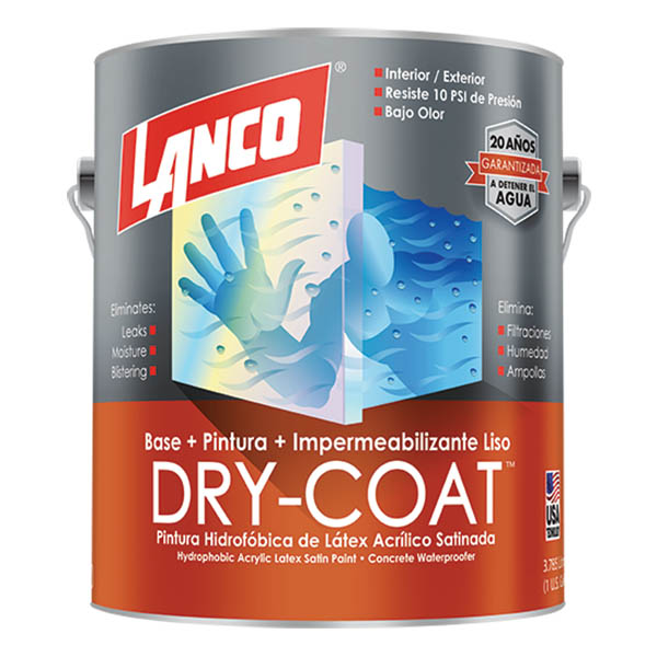 Pintura 3 en 1 Dry Coat satinado blanco 1 galón (3.785 litros) LANCO