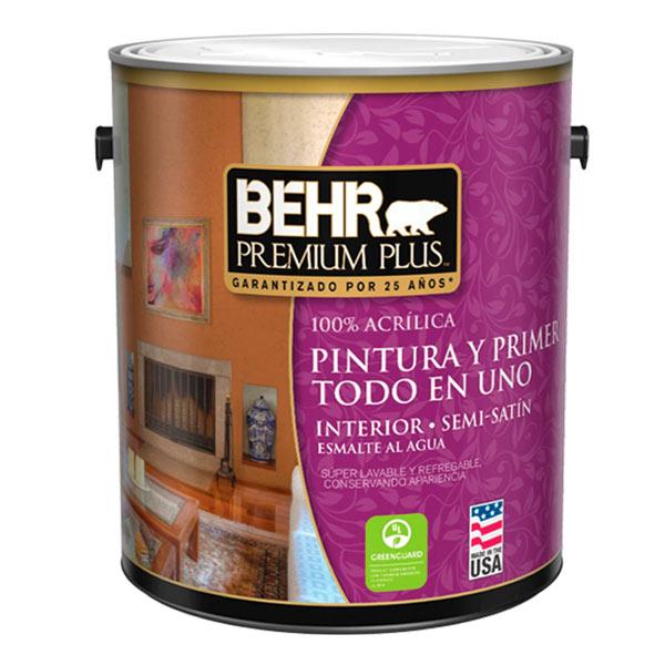 Pintura acrílica Premium Plus para interior acabado semi satinado color blanco d