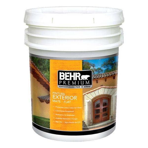 Pintura acrílica Premium a base de agua para exterior acabado mate color blanco