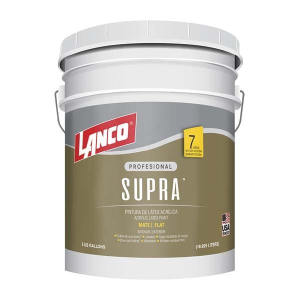 Pintura acrílica Supra Látex para interior y exterior acabado mate color blanco